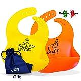 mudly Babylätzchen Silikon Von Mudly® | Silikon-lätzchen Set Mit Geschenkbeutel | Lätzchen Für Baby | Mit Wasserdicht Lebensmittel-sammelbehälter | Sicher Weich Und Waschbar | 100% Zertifiziert