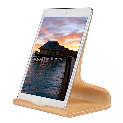 SAMDI Supporto iPad in Legno, Legno Supporto Tablet/Supporto Stand Dock per iPad Pro 10.5 inch, iPad mini 2 3 4, iPad Air, Air 2, iPhone 7 Plus, 6s Plus, Samsung Galaxy Tab S7 S8 (Betulla Bianca)
