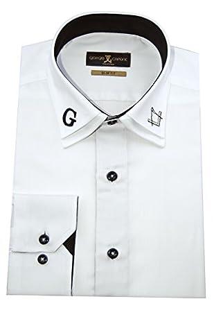 Giorgio Capone Herrenhemd, Freimaurer/ Masonic, 100% Baumwolle, weiß, besonderer Kent-Kragen mit Stickereien, Langarm, Slim & Regular Fit (XL (Easy Care Leinenhemd)