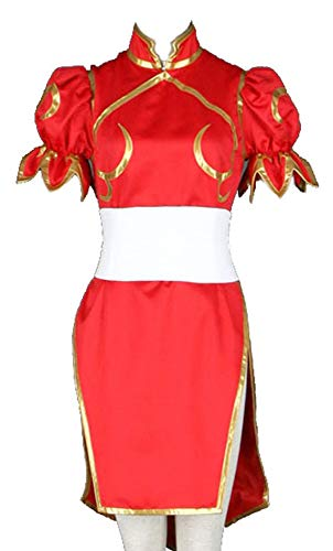 CHIUS Cosplay Costume Red Fighting Outfit Dress for Chun Li Version 4