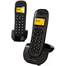 Alcatel C250 Duo - Teléfono fijo inalámbrico, color negro