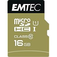 Emtec microSD Class10 Gold+ 16GB Memoria Flash MicroSDHC Clase 10 - Tarjeta de Memoria (16 GB, MicroSDHC, Clase 10, 85 MB/s, Azul, Oro)