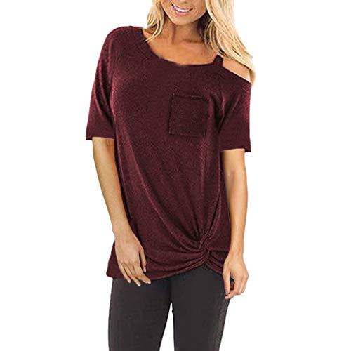 SANFASHION Shirt Mode Femme,Manches Courtes Couleur Unie,Top Bow Chic t-Shirt Épaule Nu Sling,Chemisier Casual-Vin Rouge,XXL