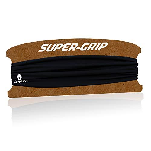 CrosFace Stirnband für Laufen, Yoga, Joggen und Fitness. Schweißband Sport Damen Herren (Schwarz Stirnbänder)