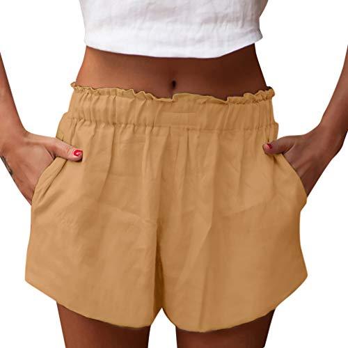 TEELONG Shorts Damen Shorts Hosen beiläufige lose Baumwollhosen Mädchen Normallackshorts tragen HoseBadeshorts Chinoshorts Cargoshorts Jeansshorts Sweatshorts Hosen(XL, Gelb) -