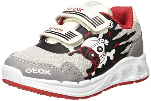 Geox J Dakin Boy B, Zapatillas para Niños, Blanco (Lt Grey/Red C1234), 28 EU