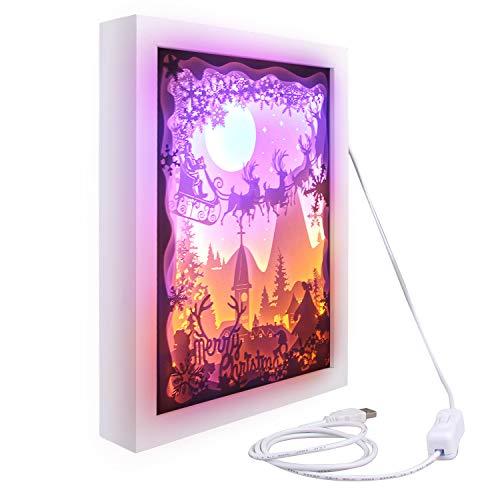 Schützen Tee (Frohe Weihnachten 3D Shadow Box Papierschnitzen Papercut LED Nachtlampe Licht für Schlafzimmer Wohnzimmer Café Tee Haus Geschenk Dekoration)