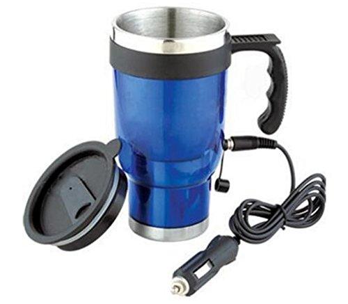 Double-Layer-Edelstahl-Auto beheizte Wasser-Cups Portable Travel Cups können beheizt werden, um zu kochen ( Color : Blue ) (Presse Und Dichtung Groß)