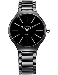 Time100 Simple Fashion Ultra-Thin Quartz Ceramic Watch Couple Watch for Men Black White #W50173M