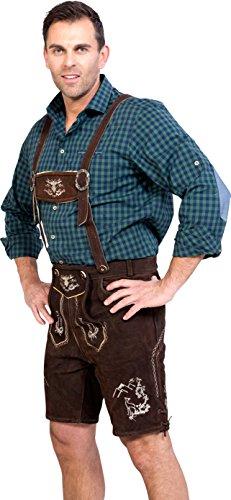 Almwerk Herren Trachten Lederhose kurz Platzhirsch in verschiedenen Farben, Farbe:Braun;Lederhose Größe Herren:46 - 4