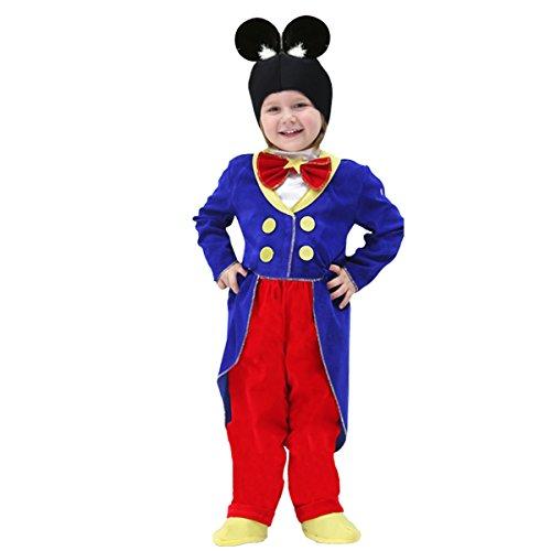 Vestito costume maschera di carnevale baby - topolino - taglia 3/4 anni - 78 cm
