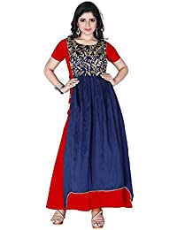 Radhe Enterprise Women s Taffeta Silk Anarkali Embroidered Gown (semi   stiching and Free Size) cf8882886