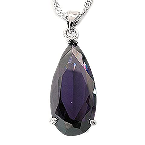 Rizilia Jewellery 18K White Gold Plated Teardrop Purple Amethyst Color Gem Stone Slide Pendant Necklace With (Length 48cm/18inch ) Curb Chain [Free Jewelry Pouch]