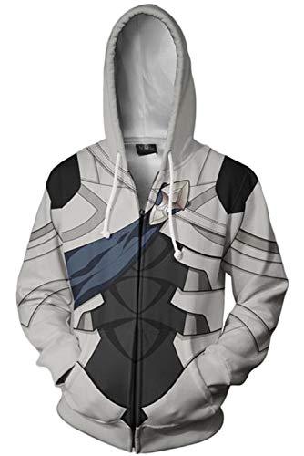 MingoTor Herren Damen Kapuzenjacke 3D Pullover mit Kapuze Sweatjacke Hoodie Cosplay Kostüm Unisex Grau XXL