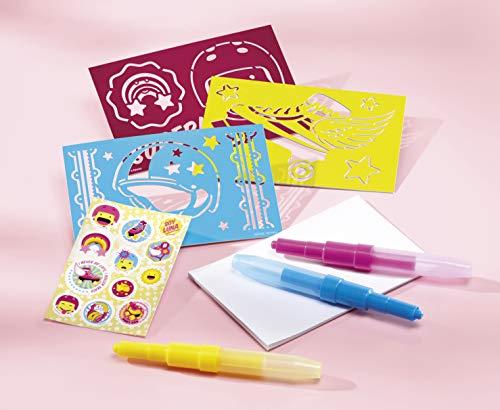 Totum Soy Luna Bastel-Set Spray-Pens - Pustestift-Bilder mit Schablonen, Stiften, Glitzer und Stickern -