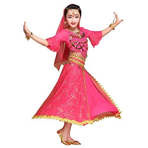 Wgwioo Mädchen Bauchtänzerin Prinzessin Kostüm Halloween Kleidung Karneval Kleid Tanz für Kinder,Pink,M