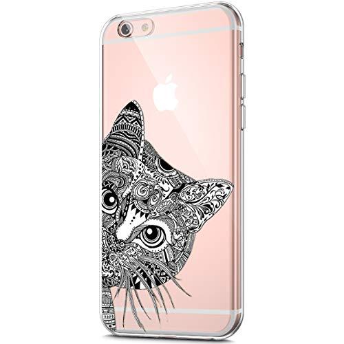 Kompatibel mit Schutzhülle für iPhone 6S/6 Hülle Durchsichtig mit Kunst gemaltes Muster Transparent TPU Silikon Handyhülle Durchsichtige Schutzhülle Case Crystal Clear Case Tasche,Schwarze Katze -