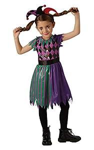 Rubies Disfraz oficial de Harlequin Jester para niñas de circo aterrador de Halloween