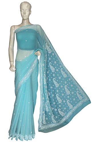 ADA Women's Faux Georgette Chikankari Ethnic Wear Saree (Blue) A127025