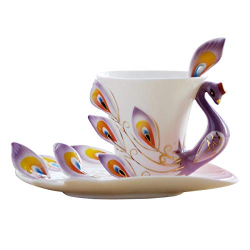 AI BEI lebendige Keramik-Kaffeetasse, hochwertige Emaille-Pfau-Latte-Tasse Englischer Teeservice mit Untertasse und Rührlöffel goldfarbener Seitenmilchbecher Purple Martini-gläser