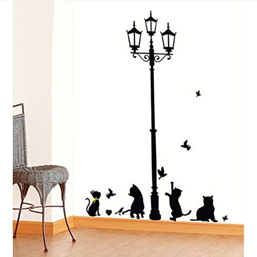 Meaosy Freche Katzen Vögel Und Straßenlaterne Lampe Post Wandaufkleber Dekoration Schule Zimmer Kindergarten Vinyl Wandaufkleber 7 Stil