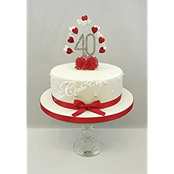 CAKE DECORATION RUBY 40th WEDDING ANNIVERSARY DIAMANTE CAKE TOPPER - Ruby Wedding Cake Toppers