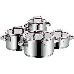 WMF Function 4 - Batería de cocina, 4 piezas, cacerola de Ø20cm (2,5 litros), 3 ollas altas de Ø16cm (1,9 litros), Ø20cm (3,4 litros) y Ø24cm (5,7 litros), con tapa