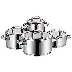 WMF Function 4 Kochtopfset, 4-teilig, mit Glasdeckel, Cromargan Edelstahl poliert, mit 4 Abgießfunktionen, Innenskalierung, induktionsgeeignet, spülmaschinengeeignet, rot