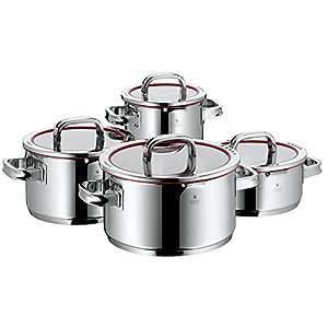 WMF Function 4 Topfset, 4-teilig, mit Glasdeckel, Kochtopf, Cromargan Edelstahl poliert, mit 4 Abgießfunktionen, Innenskalierung, induktionsgeeignet, spülmaschinengeeignet, rot