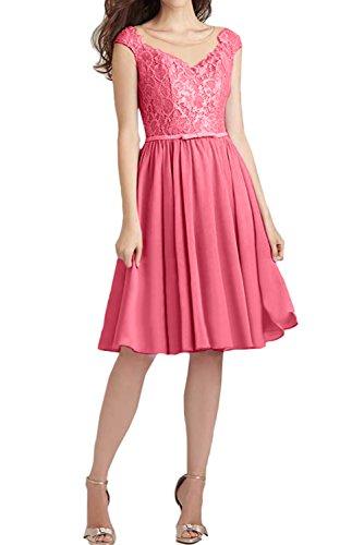 Ivydressing Damen Festlich Kurz Spitze Abendkleider Ballkleid Brautjungfernkleider Wassermelone