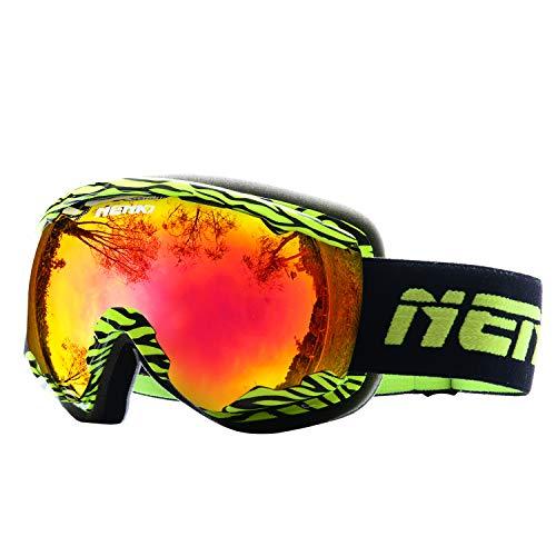 NENKI Skibrille NK-1006 & NK-1007 Für Herren, Damen mit 100% UV-Schutz Anti-Beschlag-Brillenglas, Schneemobil, Snowboard (Gelb Schwarz)