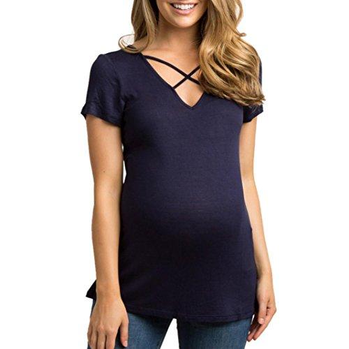 Schwangere Kleidung Sommer LUCKYCAT Schwangere Frauen Mit Brustkreuz ZurüCk T-Shirt Kurzarm Top Womens Mutterschaft Patchwork Cross Tops Hemd Schwangerschaft Kleidung Blusen (XL(AsianXL=EUL), Navy)