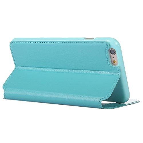 wkae Étui et coque rigide Crazy Horse Texture en cuir avec support & Cardslot & callerid Écran pour iPhone 6Plus & 6splus bleu