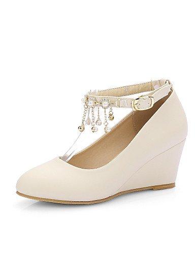 WSS 2016 Chaussures Femme-Habillé-Noir / Rose / Beige-Talon Compensé-Talons / Bout Arrondi-Talons-Similicuir black-us10.5 / eu42 / uk8.5 / cn43