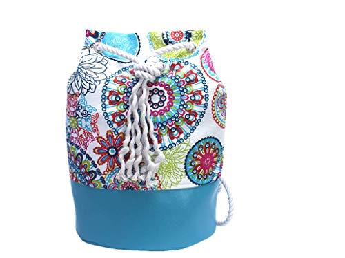 Blauer Rucksack mit buntem Mandala, veganer Seesack aus Canvas, mit Kordel aus Baumwolle - 3