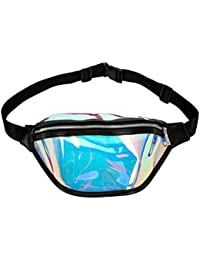 Women Shiny Wasit Bag Fashion Reflective Chest Bag Outdoor Sports Travel Bags (Black)