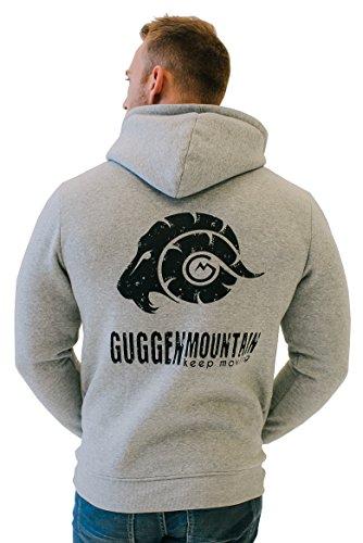 GUGGEN Mountain Herren Kapuzenpullover mit Fleece Hoodie Hooded Logo Sweater Sweatjacke Warmer Pullover Streetwear Langarm Kapuze Outdoor Sport Hellgrau XXL -