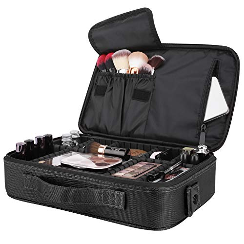 Luxspire Makeup Cosmetic Storage Bag, Portable Waterproof Double Layer Make up Case Cosmetic Pouch Travel Storage Box Toiletry Organizer Tool with Shoulder Straps, 13.58