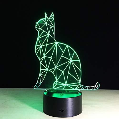 wangZJ Lámparas de escritorio con mesa táctil 3D / luz de la habitación del cuarto de los niños del bebé/decoración infantil/regalos de cumpleaños de Navidad/gato encantador