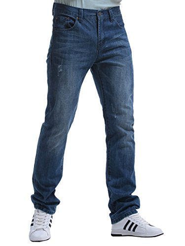 Alice & elmer jeans denim slim straight fit,jeans uomo, light wash 32w x 32l