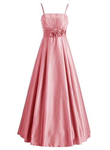Bbonlinedress Robe de soirée et de demoiselle dhonneur plissée florale bretelle spaghetti sans manches et strass longueur ras du sol en soie Corail