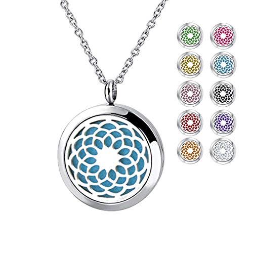 Yidarton Damen Halskette Sonnenblume Halskette Sonnenblume Aromatherapie Diffusor Locket Halskette mit 10 Stücke Nachfüllpads …