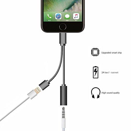 OnPrim iPhone 7 7 Plus Lightning Adapter - 8 Pin Aufladen und Audio Jack Doppelfunktion Connecter - Lightning auf 3,5 mm-Kopfhöreranschluss Adapter für IOS Geräte iPhone 7 7 Plus 6 6S Plus - Schwarz