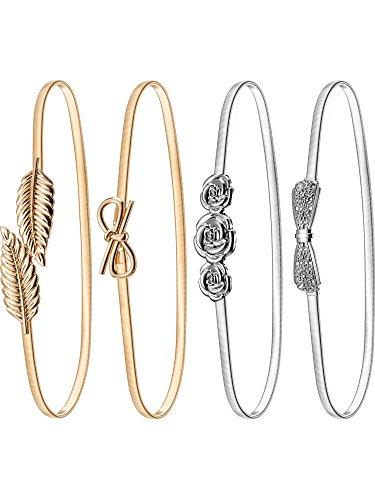 4 Pares de Cinturón Elástico de Mujeres Cintura de Vestido de Metal Estirable (Conjunto de Colores 1)