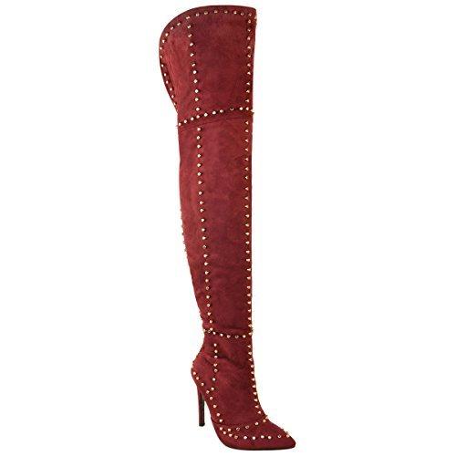 Damen Overknee-Stiefel - mit Nieten besetzt - Stiletto-Absatz - Dunkelrot Veloursleder-Imitat - EUR 39 (Veloursleder-wedge-stiefel)