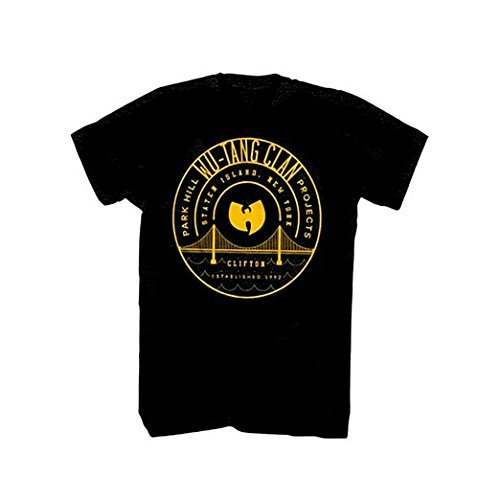 Sixtion Wu Tang Clan Park Hill Projects Clifton Est 1992 T-shirt - Black XX-Large