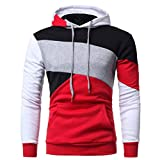 IMJONO Herren Sweatshirt Langarm Patchwork Hoodie Kapuzenoberteile Jacke Mantel Outwear(EU-52/CN-3XL,Rot)