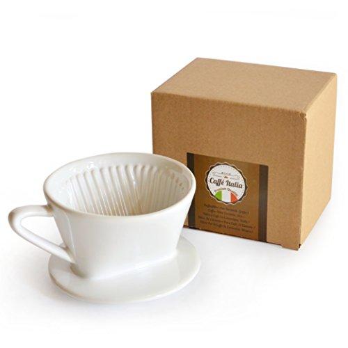 Keramik-keramik-tasse (Permanent-Kaffee-Filter Caffé Italia - exzellenter aromareicher Kaffeegeschmack - Handfilter Kaffeefilter-Aufsatz Keramik - Größe 1 für 1-2 Tassen - weiß - Premium-Qualität)