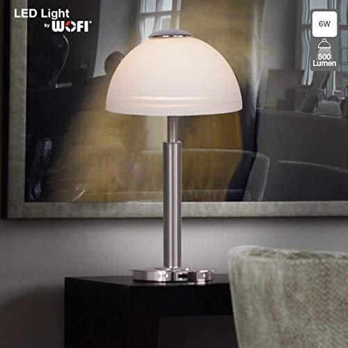 LED Tischleuchte in Nickel matt Zeitloses Design LED mit 6 Watt 230V Schalter Schlafzimmer Wohnzimmer Lampe Leuchten innen