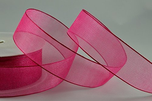 1 Meter Trim Sheer Organza, fuchsia, 25 mm - Sheer Fuchsia